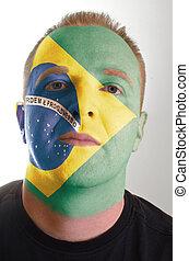 brazilie, patriot, geverfde, vlag, gezicht, kleuren, serieuze , man