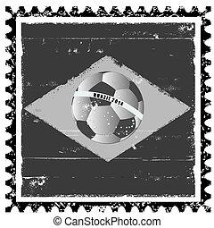 brazilie, postzegel, vlag, grunge, zoals