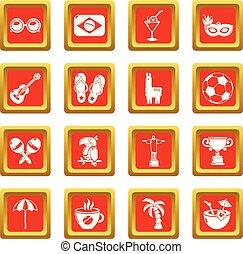 brazilie, set, iconen, reizen, vector, plein, rood