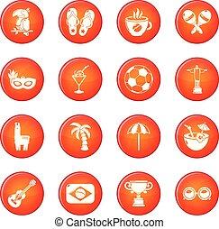 brazilie, set, iconen, reizen, vector, rood