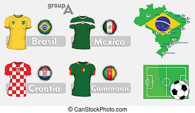 brazilie, voetbal, groep, championchip