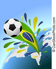 brazilie, voetbal, space., vector, achtergrond, kopie