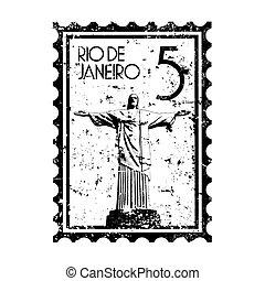 brazilie, vrijstaand, illustratie, enkel, vector, pictogram