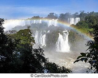 brazilie, watervallen, grens, argentina., iguazu