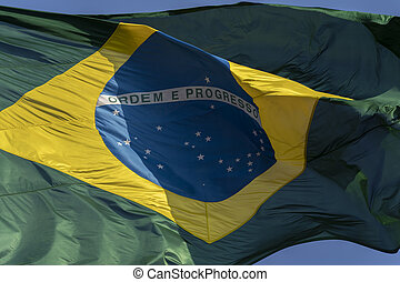 Flag of Brazil in the wind.