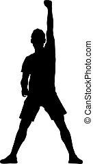 brazo, hombre, blanco, levantado, plano de fondo, siluetas, negro