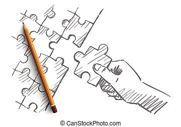 brazo, mano, dibujado, humano, completar, rompecabezas