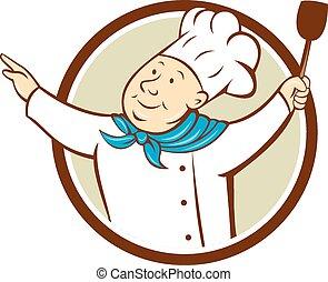 brazos, chef, espátula, cocinero, círculo, caricatura, ...