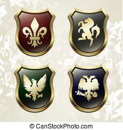 brazos, en, un, heráldica, simbólico, vector