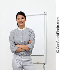 brazos, mujer de negocios, seguro, asiático, doblado