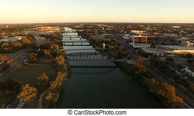 Brazos River Bridges Aerial Waco Texas Downtown City Skyline...