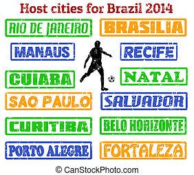brazylia, 2014, pieczęcie, miasta, tłum
