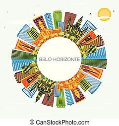 brazylia, błękitny, belo, zabudowanie, kolor, niebo, space...