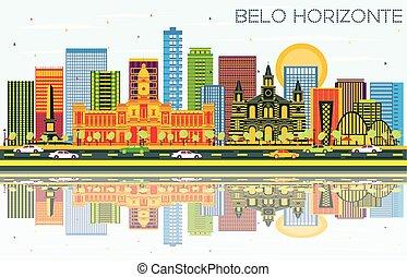 brazylia, błękitny, belo, zabudowanie, kolor, niebo, ...