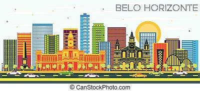 brazylia, błękitny, zabudowanie, belo, sky., kolor, sylwetka...