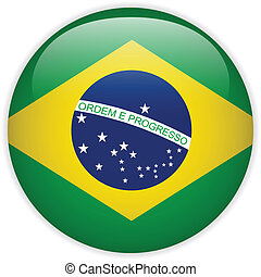 brazylia bandera, połyskujący, guzik