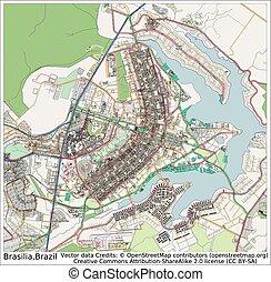 brazylia, brasilia, miasto mapa