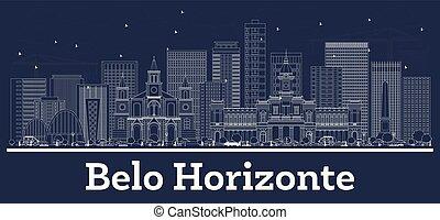 brazylia, miasto, belo, szkic, sylwetka na tle nieba, ...