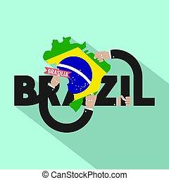brazylia, miasto, brasilia, typografia, ilustracja, wektor, projektować, kapitał