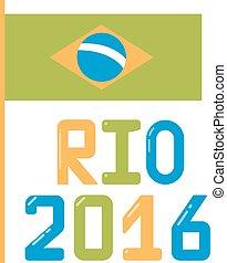 brazylia, płaski, bandera, illustration.