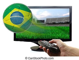 brazylia, piłka, od, ekran, przelotny, odizolowany, bandera, piłka nożna