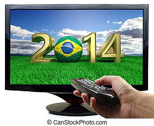 brazylia, piłka, telewizja, bandera, 2014, piłka nożna