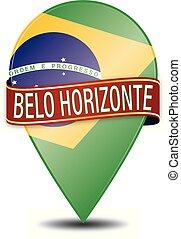 brazylia, sieć, belo, szpilka, połyskujący, horizonte