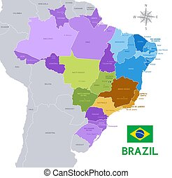 brazylia, wektor, administracyjny, mapa