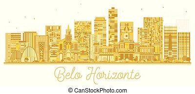 brazylia, złoty, belo, miasto, silhouette., sylwetka na tle ...