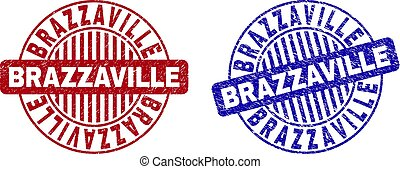 brazzaville, timbres, grunge, rond, textured