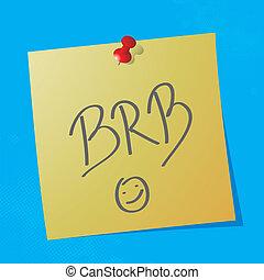 """brb handwritten message - """"brb"""" handwritten acronym message..."""