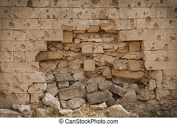 breach in the brick wall - War Damaged Brick Wall, grunge...