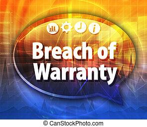 Breach of Warranty Business term speech bubble illustration