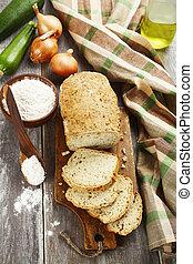 bread, 带, zucchini, 同时,, 洋葱