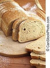 bread, 新たに, ローフ, 薄く切られる