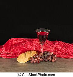 bread, -, 聖餐, ブドウ, テーブル, ワイン