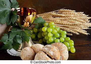 bread, 聖餐, ワイン