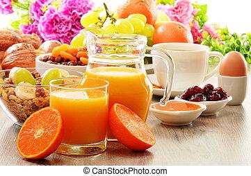bread, 커피, 포함하는 것, 꿀, 주스, 과일, 오렌지, muesli, 조반