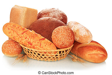 The bread abundance isolated on white background