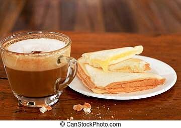 Bread and a cup of delicious coffee.