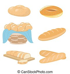 Bread and bakery icons set
