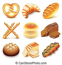 Bread and bakery icons vector set