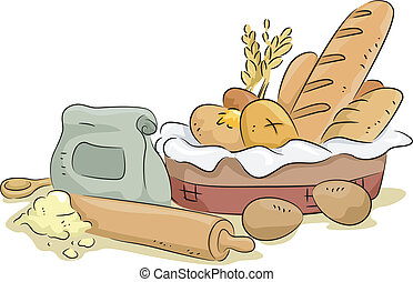 Illustration of Basket of Bread with Baking Materials and Ingredients