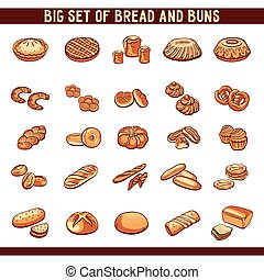 Bread And Buns Collection - Big set of hand drawn bread and...