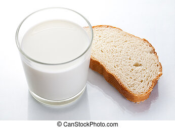 Bread and cup of milk, on white background