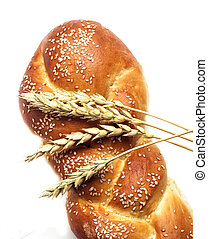 bread and ears of wheat, isolated