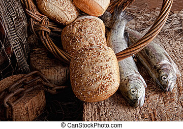 Bread and fresh fish - Vintage still life of fresh fish and...