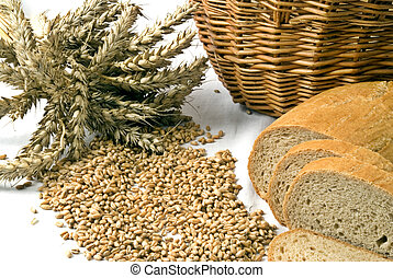 Bread and grain - Bread with grain and basket isolated on...