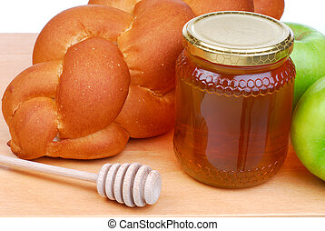 Bread And Honey - Fresh bread With Honey And Green Apples,...