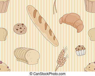 Seamless Background Illustration of Breads and Pastries